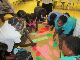 Female participants working on their landscape mapping