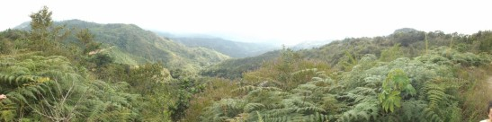Panoramic view of the area of the Jesus Maria Watershed, the area where the project of the Satoyama initiative will be implemented. The total area of the watershed covers 352.8 km ² of high topographic profile and elongated shapes starting in the mountains range Monte del Aguacate.