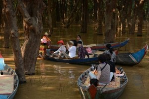Tourists visiting Kampong Phluk floating community in Siem Reap province in Northern part of Cambodia.