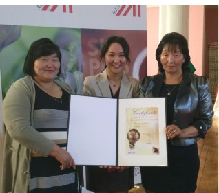 Accepting the Energy Globe Certificate, an internationally recognized hallmark for sustainability